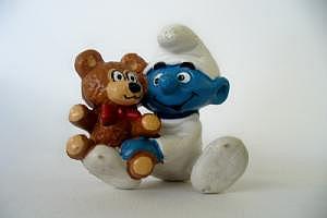 Schlumpfbaby mit Teddy (Gesicht und Pfoten hell)