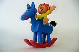 Pumuckl auf Schaukelpferd (blau) Bully 1984