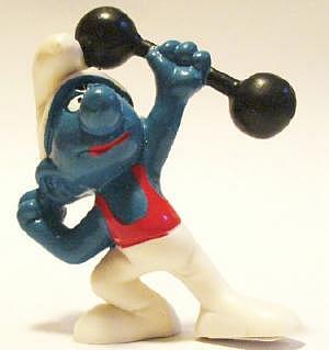 Gewichtheberschlumpf mit rotem Trikot