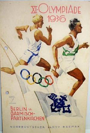 Speisekarte Norddeutscher Lloyd Bremen Olympiade 1936