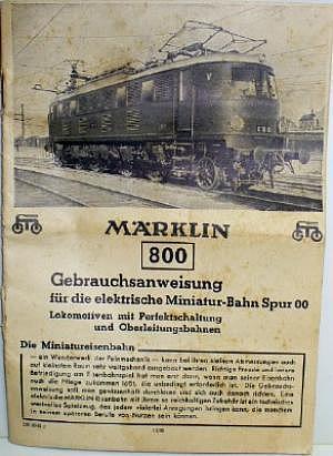 Gebrauchsanweisung Märklin 800 von 1945