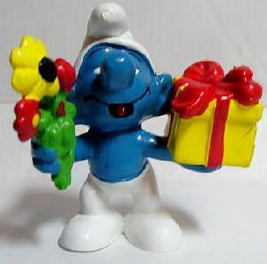 Schlumpf mit Geschenk