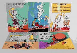Fünf Lucky Luke Postkarten 90er Jahre