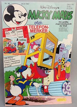 Micky Maus Nr. 40 vom 24.09.1987 mit Beilage