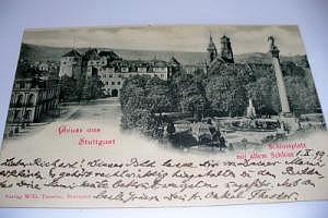 7000 Stuttgart Schloßplatz mit altem Schloß 1899