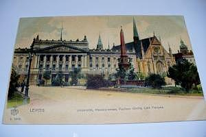 Leipzig Universität, Mendebrunnen, Pauliner Kirche, Café Francais um 1905