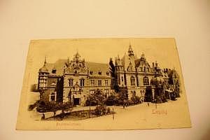 Leipzig Buchhändlerhaus Prägekarte um 1900